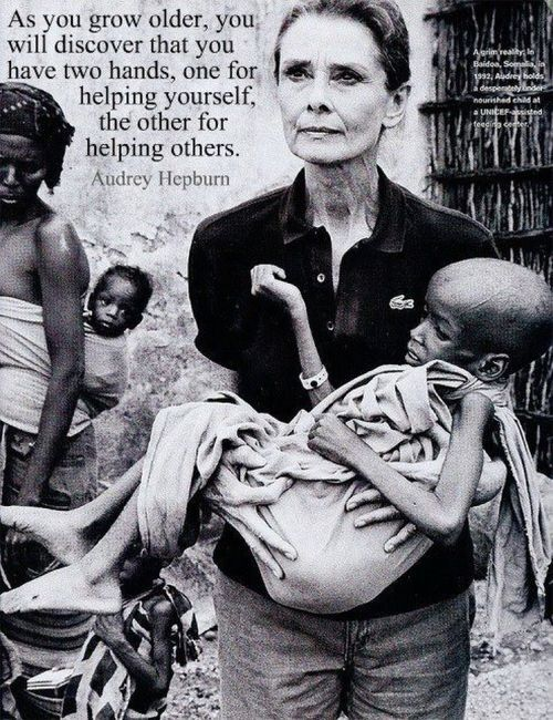 fessyfess: Audrey Hepburn spent many years in Africa helping the helpless. Yet all the pictures on Tumblr show her as a fashion icon. Fashion passes in a wink, compassion lasts forever.