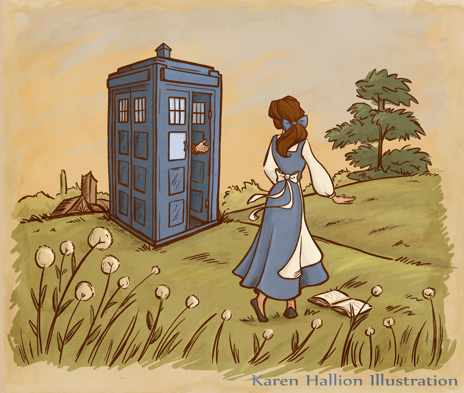 thetardis: bonsmots: karenhallion: I did another one! Belle wants so much more than her provincial life, so I figured she'd make a perfect companion. :) Everything about this is perfect. Belle the book lover would be perfect.