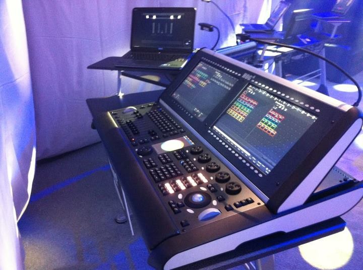 "fyeahlighting :     Fresh from LDI:  the Hog 4.  Super excited to demo one of these.  2 17"" touch screens, 5 encoders, 10 playbacks plus a dedicated master, 8 DMX outs built in, and more."