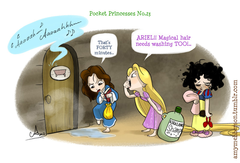 hahaha theguywholovesdisney: HAHA amymebberson: Pocket Princesses 23 Also: I've noticed people taking PPs and compiling photosets out of them and reposting them on other feeds. One such photoset has clocked up over 37k notes with NO linking credit back to my tumblr feed here. PLEASE, reblog rather than repost. That's what Tumblr is for. And if you ever DO post something from somewhere else, please make sure you include a link to the creator, so people can find their work. That's the courteous thing to do.