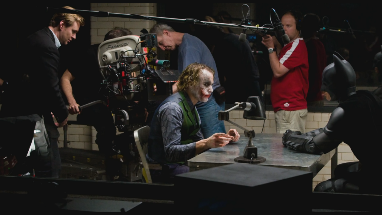 thefilmfatale: Director Christopher Nolan with actors Heath Ledger and Christian Bale, behind the scenes on the set of The Dark Knight