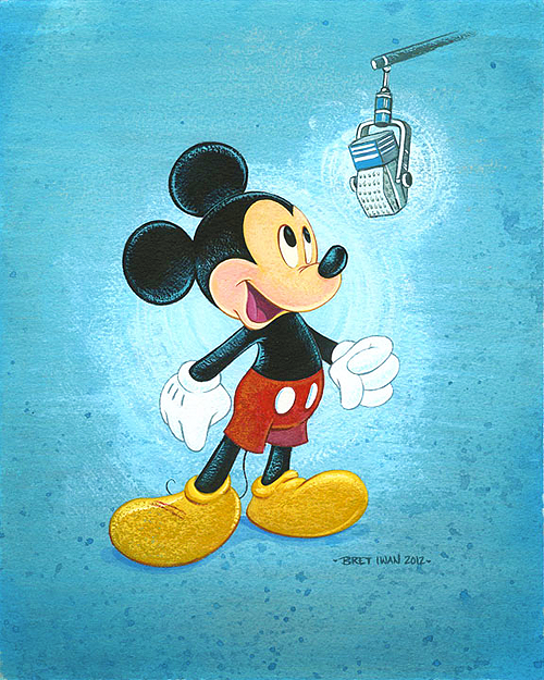 "disneyprince: Mickey Mouse, recording lines for one of his movies. The coolest thing about painting is that it's entirely meta. It was created by Mickey himself: Brett Iwan. Here's Brett's story: Bret Iwan has loved the legacy and story behind Disney for as long as he can remember, but he never dreamed life would take him where it has: to voice the world´s most recognizable character, and carry on a legacy he has always held in great esteem. Sometimes amazing things happen that are more wonderful than you could ever imagine.   After graduating high school in 2000, Bret decided to pursue his love of art in hopes of becoming an animator or possibly a Disney Imagineer. Bret completed his Bachelor of Fine Arts Degree from Ringling College of Art and Design in 2004 and moved to Kansas City to start a successful career at Hallmark Greeting Cards. Just before Bret´s fifth anniversary with Hallmark, he received an email from a college friend and PIXAR animator, explaining that phone auditions were being accepted to become the understudy to the voice of Mickey Mouse. Bret practiced for a few days, called in and recorded his phone audition, and then anxiously waited to hear back. Weeks later, he received a call that would put things in motion. After several auditions, Bret was offered his dream job as the fourth official voice of the beloved character Mickey Mouse, drawn and first voiced by Walt Disney. Bret moved to Los Angeles in September 2009 to start the next chapter of his life. His first recording was Animal Kingdom´s Adventurers Celebration in June 2009. Around that same time, Bret was introduced to Collectors Editions and the Disney Fine Art program by an old college friend from Ringling… none other than Disney Artist Tim Rogerson. This began a great collaborative relationship between Bret and Disney Fine Art for whom he has created several wonderful portraits of the famous mouse, effectively merging Bret´s life as an artist and illustrator with his new career voicing the most recognizable animated character in the world.  Since beginning with Disney, he has met and enjoyed working with the rest of ""the gang"". Never in a million years would he have guessed that this is where life would take him."