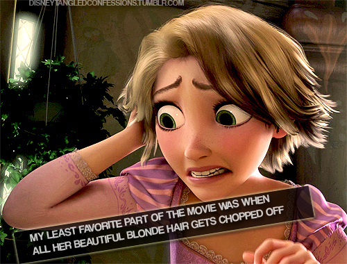 """""""My least favorite part of the movie is when all her beautiful blonde hair gets chopped off."""""""