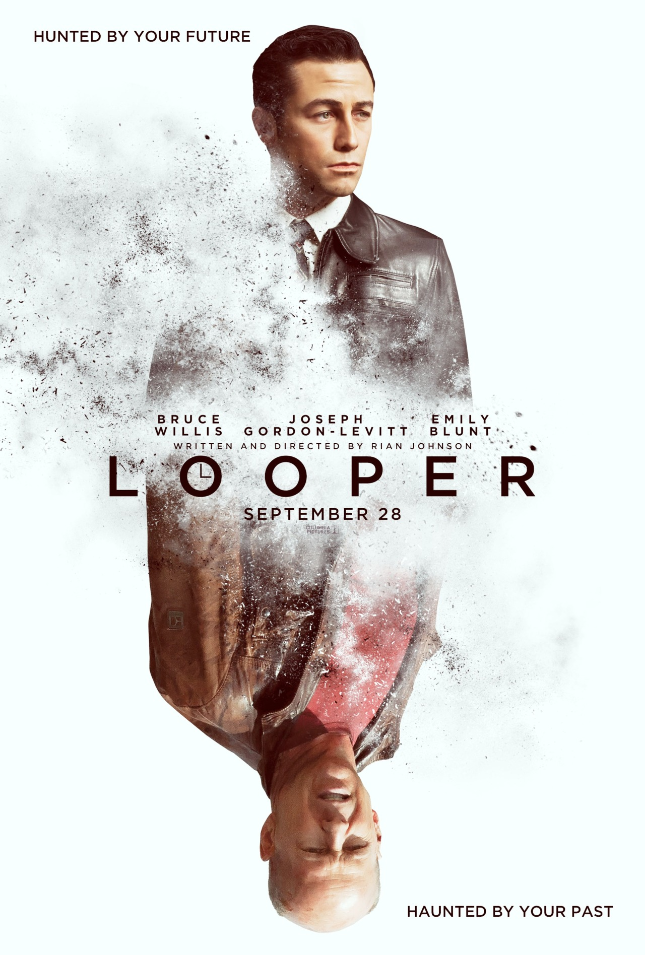 """untitledfilmblog: Looper (Dir. Rian Johnson) """"In the futuristic action thriller Looper, time travel will be invented – but it will be illegal and only available on the black market. When the mob wants to get rid of someone, they will send their target 30 years into the past, where a """"looper"""" – a hired gun, like Joe (Joseph Gordon-Levitt) – is waiting to mop up. Joe is getting rich and life is good… until the day the mob decides to """"close the loop,"""" sending back Joe's future self (Bruce Willis) for assassination."""" Congrats joe!!!"""