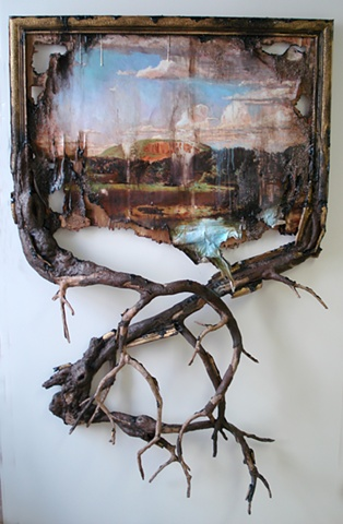 "sorry just thought this  was cool West Rock with Branches 2012 Wood, wire, epoxy, archival print on canvas, acrylic paint, gel mediums, sand, glue, hardware 48"" w x 65"" h x 11"" d Commission for: New Britain Museum of American Art 56 Lexington Street New Britain, CT"