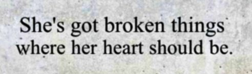 """""""she has broken things where her heart should be"""""""