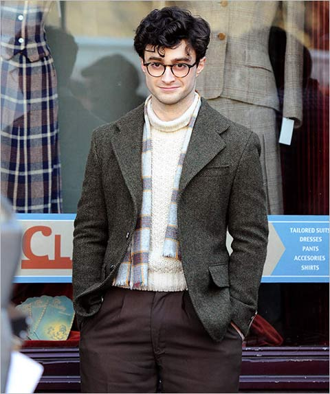 First Look At Daniel Radcliffe As Allen Ginsberg In Kill Your Darlings    In the discussion of an actor looking like the real person that they're playing, David Cross as Allen Ginsberg in  I'm Not There  ranks pretty high. From the receding hairline to the thick rimmed glasses to the bushy beard, Cross was a perfect doppelganger in Todd Haynes' 2007 film, but looking at the first set photos from Kill Your Darlings , a movie in which Daniel Radcliffe plays the famous beat poet, Cross might be given a run for his money.             Set in 1994,  Kill Your Darlings  tells the story of a murder at Columbia University that brought together luminaries of the beat generation including Allen Ginsberg, Jack Kerouac and William Burroughs. In addition to Radcliffe the film also stars Elizabeth Olsen, Michael C. Hall, Ben Foster, Jennifer Jason Leigh and David Cross (funnily enough, as Ginsberg's father, Louis). The script was written by Krokidas and Austin Bunn and is currently in production. There is no distributor in place yet.       Because the new movie, directed by John Krokidas, is set back in the 1940s, Radcliffe is actually playing a much younger version of Ginsberg than Cross did, but the resemblance is just as uncanny. It's amazing what a tweed jacket, a new set of spectacles and a fresh haircut can do.  EW  has the full-size pic, but you can see a smaller version of the photo below as well as a photo of the real young Ginsber