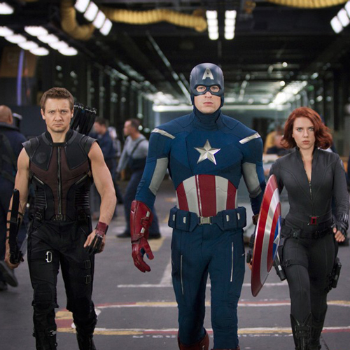 totalfilm :       New Avengers image released online     The Avengers arrives in UK cinemas in just a matter of months, and Marvel have whetted our appetites still further with the release of a shiny new image featuring three of the team preparing for action.                    The new shot shows Captain America striding purposefully towards the camera, flanked by SHIELD operatives Hawkeye and Black Widow.  Pretty badass, we think you'll agree…