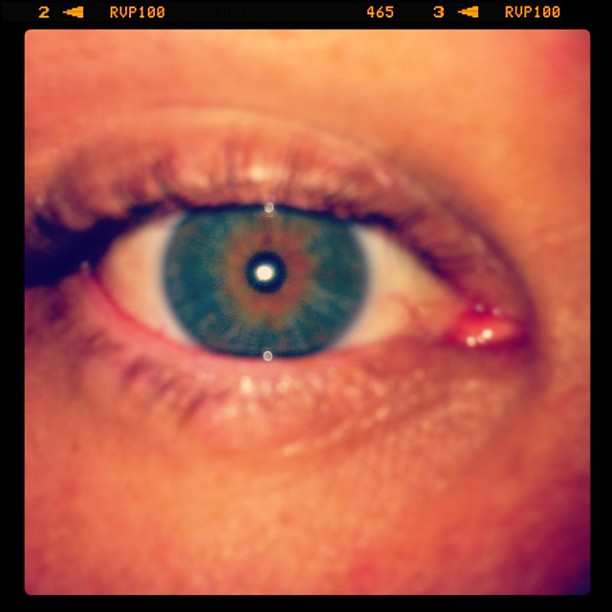 "My eye 2 (Taken with instagram) ""It looks hazel or brown on here but I have a dark golden ring around both of my pupils and my eyes change color from time to time  staying around green but different shades """