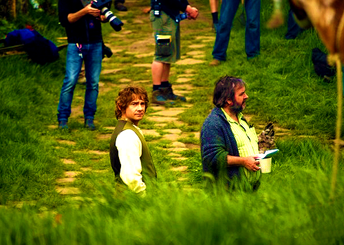 Martin Freeman and Peter Jackson on the set of The Hobbit.