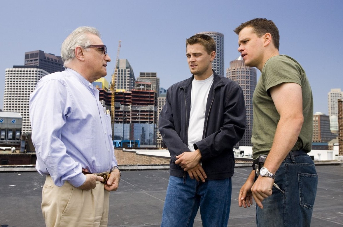 dadsamoviecritic: Director Martin Scorsese with Leonardo DiCaprio and Matt Damon on the set of 'The Departed' (2006)