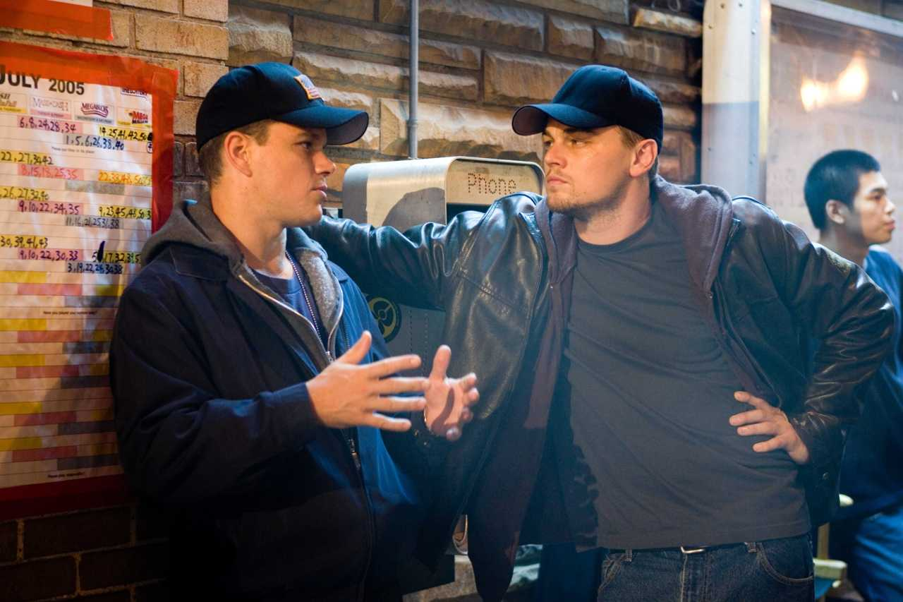 dadsamoviecritic :     Matt Damon and Leonardo DiCaprio during a break on the set of   'The Departed' (2006)