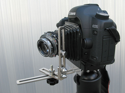 photojojo: Genius: Mounting a lens & bellows from an antique camera to a Canon 5D like Alex did. (Here's an example pic)