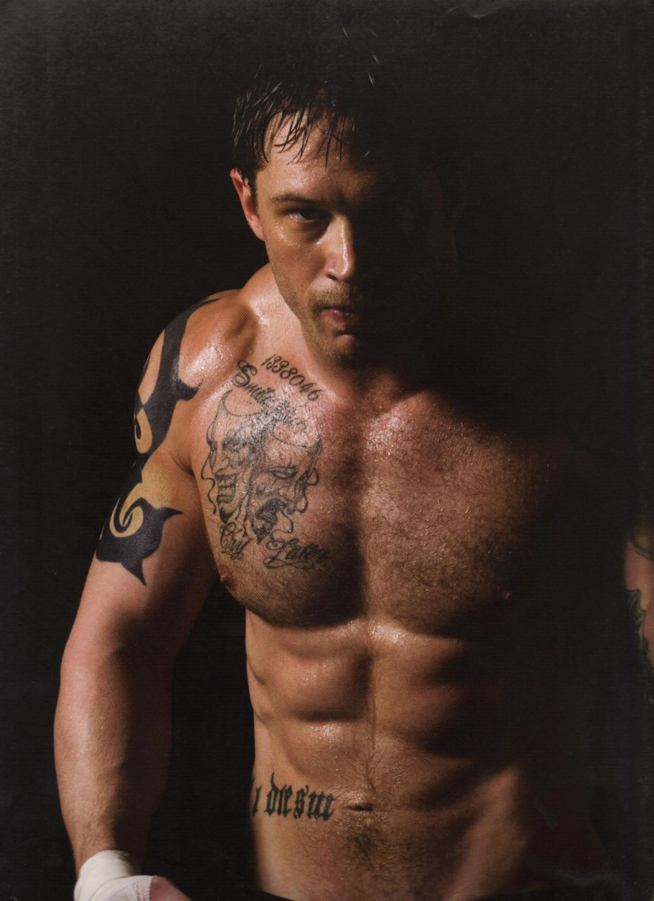 "notmyhairitisapalm: From SFgate: Reluctant Hardy poses for 'Warrior' book In a new book, British actor Tom Hardy (""Inception"") describes photographers as ""charlatans."" No fan of photo shoots, he writes, ""The whole ordeal makes me want to puke."" So how did photographer Tim Palen wrangle Hardy into posing for pictures and writing the preface for his hardcover photo essay ""The Men of Warrior""? During production on the martial arts drama ""Warrior,"" which opens Sept. 9, Palen flew to Pittsburgh and staged a 16-hour photo session inside the stadium where fight scenes were being filmed. Palen recalls, ""I could tell the minute I met Tom that he didn't want to do this, so I told him that I wasn't interested in taking his picture; I was interested in photographing his character. For most actors, that's a huge relief because then they don't have to worry about being personable or engaging. It's a tactic you use for people who aren't comfortable in front of the camera being photographed as themselves."" Palen doubles as chief marketing officer for Lionsgate Films. He initially photographed cast members to stockpile images for ""Warrior's"" advertising campaign. When a poster manufacturer offered to publish a book featuring his pictures, Palen agreed. 16 hour photo session! No wonder Tommy hates them. I would still like to know how Tom ended up writing the hilarious forward…."