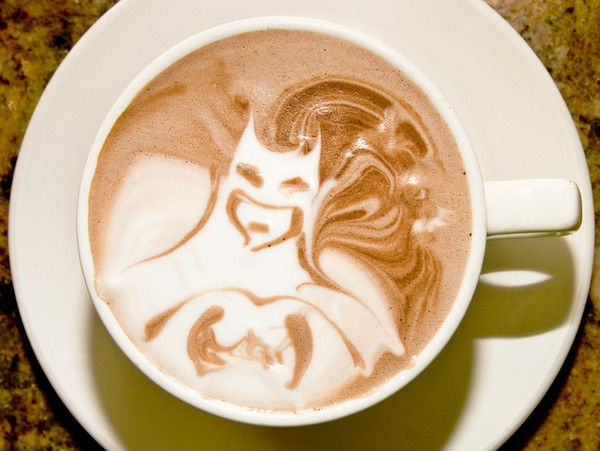 AWESOME!!!!!! I Like My Batman Like I Like My Coffee… The Dark Knight surfaces in an artful cup of coffee whose foam was sculpted by some very talented barista. You can see more geeky foam art from Star Wars, Pokemon, and Donnie Darko atBuzzfeed!