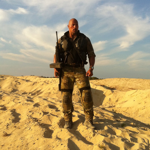 First image of Dwayne Johnson as Roadblock in G.I. Joe 2        The Dark Knight Rises ,  The Avengers  and  Superman: Man Of Steel  all have armies of fans posting pics and YouTube videos from the shoots. With  G.I. Joe 2: Retaliation  it's an inside job, as Dwayne 'The Rock' Johnson tweets an image of himself from his first day's shooting.    Director Jon M. Chu ( Justin Bieber: Never Say Never  - no, really) has taken his cast to New Orleans and  according to Johnson it's pretty hot there right now…