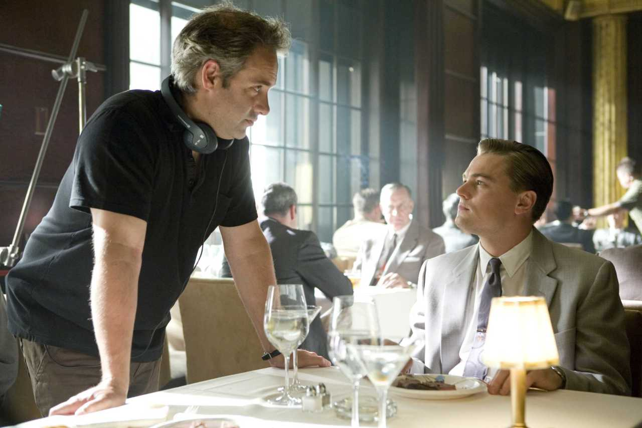 Sam Mendes and Leonardo DiCaprio on-set Revolutionary Road (2008)