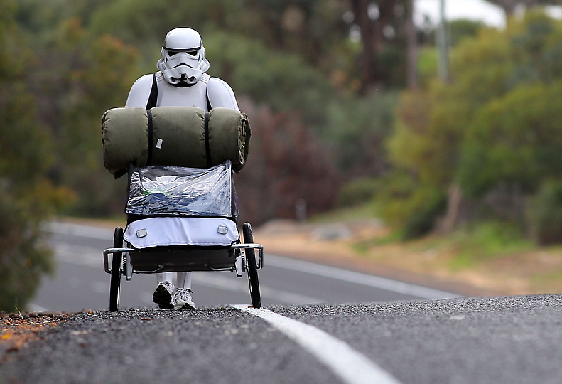denverpost :       Man is Walking 4,000 Kilometers Across      Australia     in Stormtrooper Costume    Stormtrooper Paul French is on a journey of over 4,000 kilometer from Perth to Sydney, walking 35-40 kilometers a day, 5 days a week, in full Stormtrooper costume until he reaches Sydney. French is walking to raise money for the Starlight Foundation – an organization that aims to brighten the lives of ill and hospitalized children in Australia.