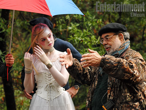 First official photo of Francis Ford Coppola directing Elle Fanning on the set of Twixt.