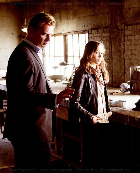 fuckyeahdirectors :     Christopher Nolan and Ellen Page on-set  Inception