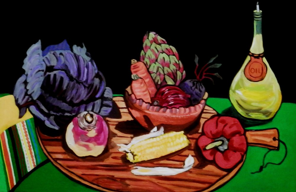 vegetables in copper bowl - Sharman Feinberg
