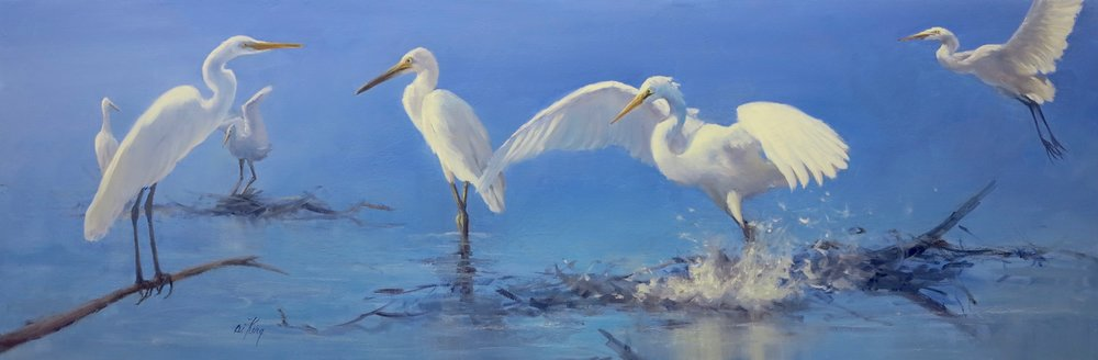 "Egrets 38x114cm $1,850 (15x45"")"