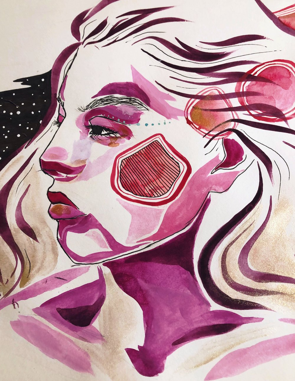 Idealism by Mia Pensa, gouache on paper