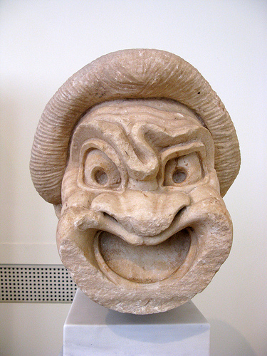 Theater mask.  National Archeological Museum, Athens, Greece