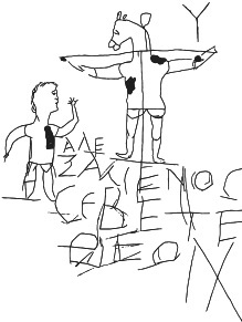"Earliest pictorial representation of Jesus' crucifixion, ""Alexamenos Worships His God."""