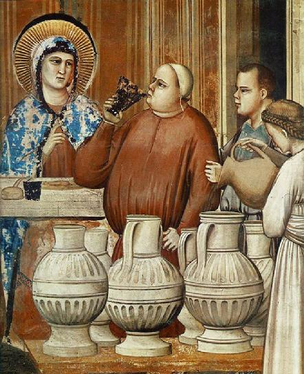 Notice the depiction of the Cana chief steward here...looks like he's never been one to say no to a good party!  (Giotto)