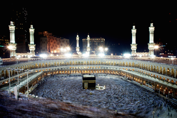 "The spectacular sight of thousands upon thousands of Hagar's descendants today, all dressed in white, devoutly running the then-desolate journey of she and her son.  Now called the Hajj, it's one of the five ""Pillars of Islam."""
