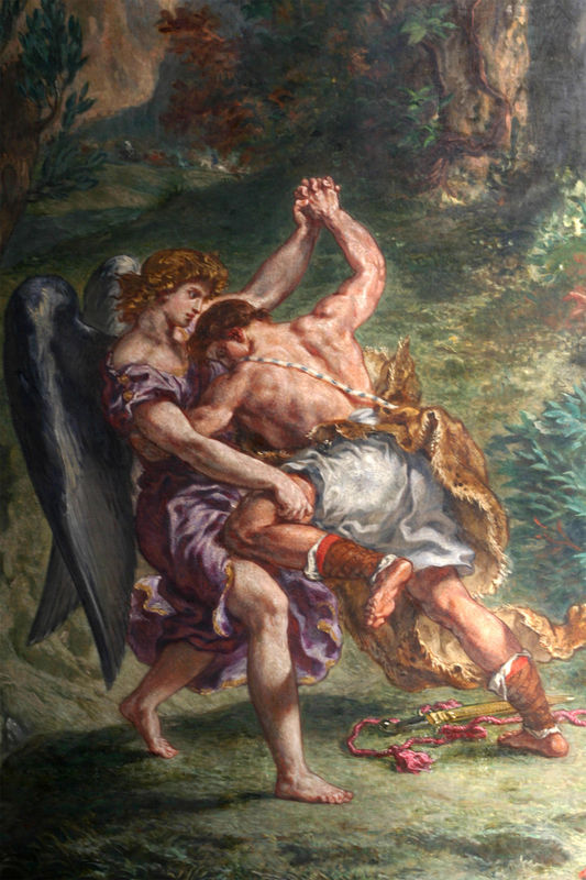 Thigh-pulling moment as realized by Eugene Delacroix