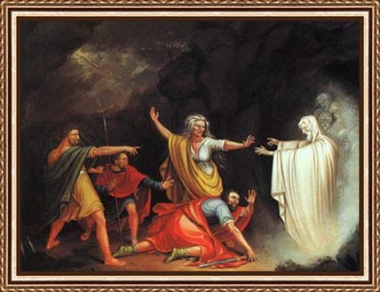 I love this version; you can't tell if the witch is summoning Samuel's ghost or protecting poor Saul from the ghost's endlessly bitter recriminations.