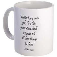 I guess this mug is intended us to remind us that the caffeine we're drinking will energize us to get our affairs in order....or will enable time travel....