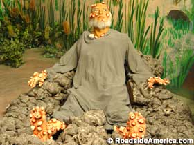 This wax recreation, on display at the Biblewalk and Living Museum in Mansfield, Ohio, brings both Job  and  his mother to life.