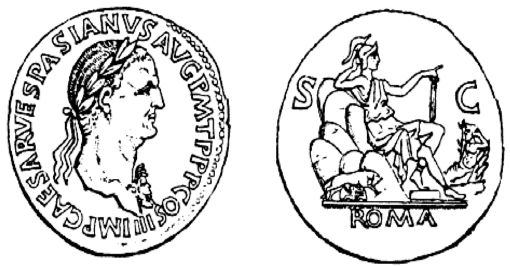 Etching of Roman coin late 1st century AD