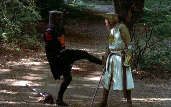 """Come back here you yellow-bellied....""  Another favorite line from the  Grail ."