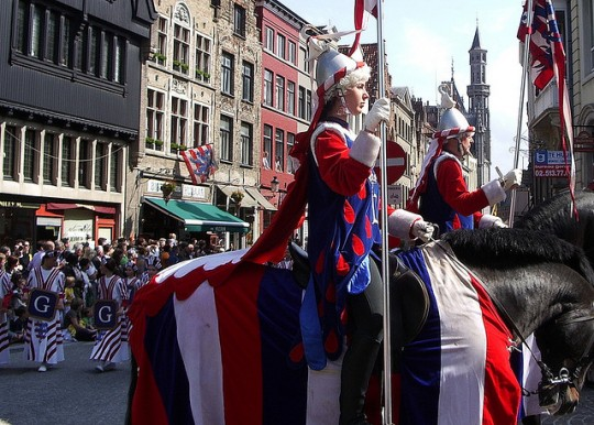 Fancy schmancy Ascension Day parade in Bruges, Belgium.