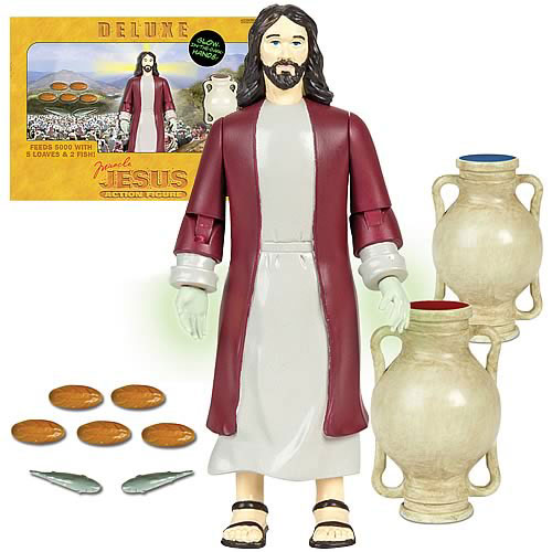 Deluxe Jesus Action Figure also includes jugs of water awaiting winery.
