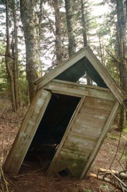 This is NOT the Voigts family outhouse, but it leaned like this; and before we razed our baby, we all stood...actually leaned...in front of it for photos that still blissfully grace many a Voigts' refrigerator door.