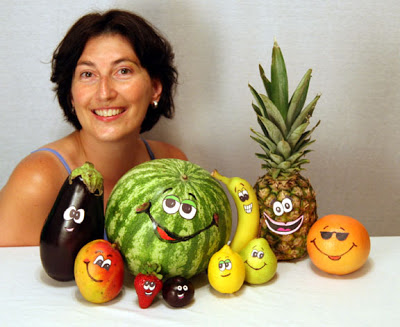 """Here's Laura with the spiritual fruit characters she created! So clever and artistic (especially because she also includes, for extra wackiness, an EGGPLANT!) You can read the whole of Pastor Laura's sermon on the fruits of the Spirit by tapping this link... """"The Fruit of the Spirit Guys"""" ."""