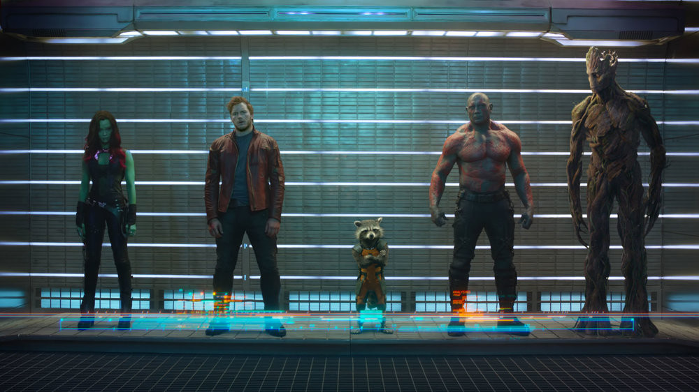 "Left to right:  Gamora, Peter Quill (aka ""Star-Lord""), Rocket, Drax, Groot."