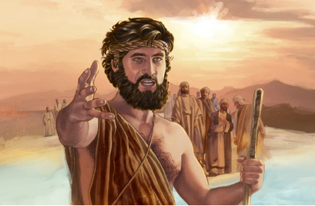 Despite his reputation for wildness and incendiary language, rarely do depictions of John the Baptist show him speaking, and NEVER with stuff - any stuff - between his teeth.
