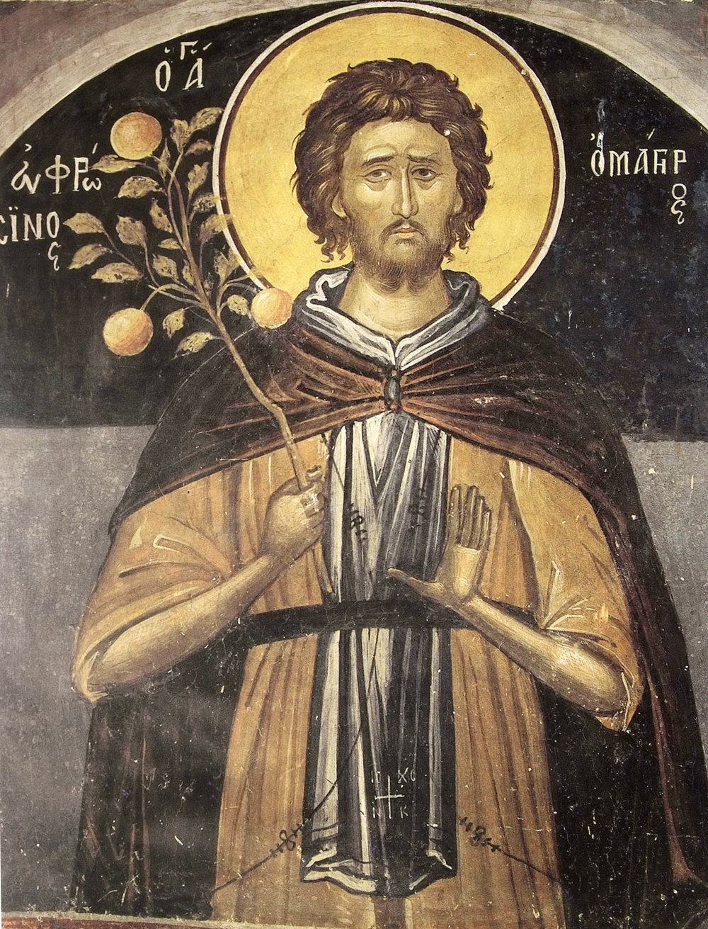 Although no official image of St. Ethbin can be found, some say this could be him as the subject above appears to be in prayerful contemplation as to what to do with this branch of fruit.