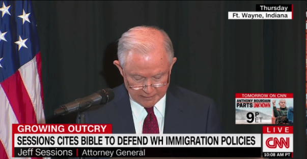 "AG Sessions is in a lot of hot water with the United Methodist Church, the denomination to which he belongs, for his words here, as well as administrating a ""zero tolerance"" policy regarding migrants seeking asylum in the US."