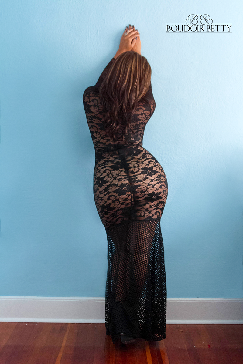 Who said anything about lingerie? A lace gown with nothing on underneath highlights curves that don't quit.