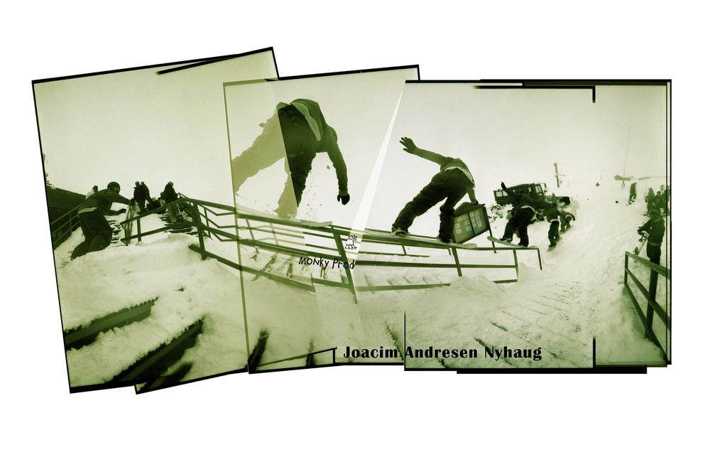 Joachim Nyhaugen nosepress down a round rail in Zermatt Switzerland.