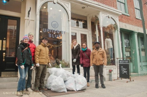 Forsei helping at United By Blue's Delaware River Cleanup. United By Blue is a clothing company that picks up a pound of trash from our waterways for every article of clothing sold.