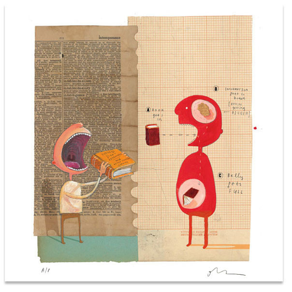 "Image by Oliver Jeffers from ""The Incredible Book Eating Boy"" via Oliver Jeffers Shop"