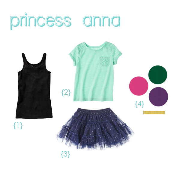 {1}  black tank top  for bodice, {2}  aqua shirt  for sleeves, {3}  navy tutu , {4}  felt  and  gold ribbon trim